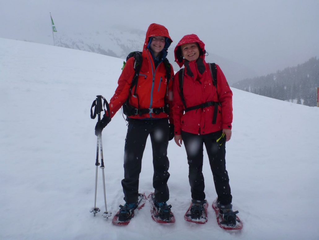 Heidi and I in our full snowshoeing dress
