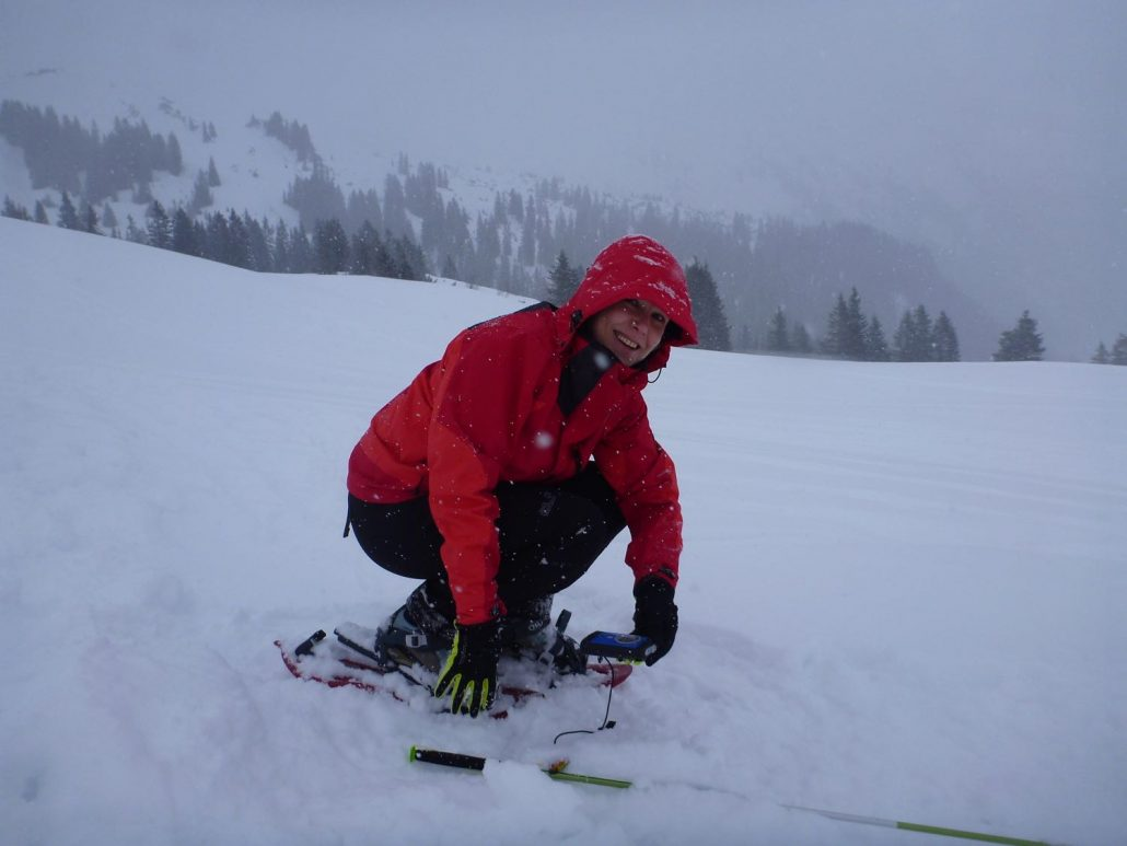Heidi performing avalanche rescue