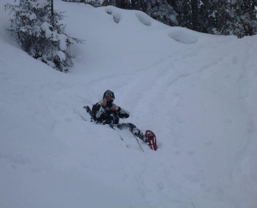 The fun of snowshoeing downhill