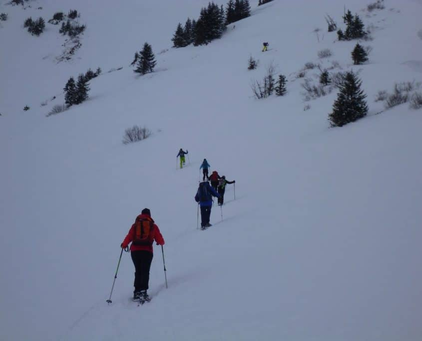 Avalanche Safety - Keeping a distance of 15m while climbing the mountain