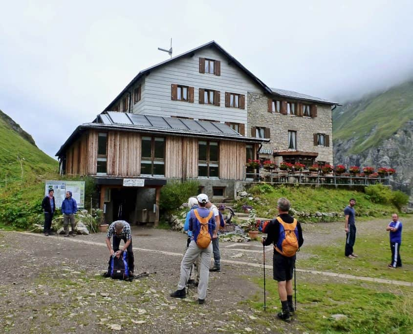 Arriving at the Kemptner hut at 1844 meters