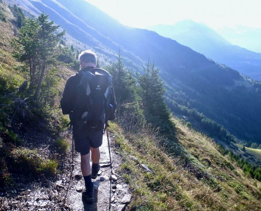 Hikina and enjoying the great alpine panorama