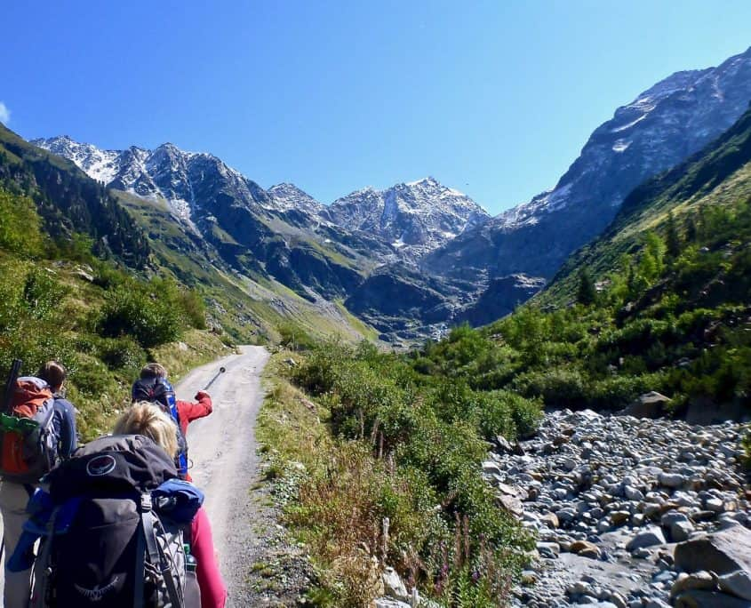 Hiking through a valley formed by glaciers