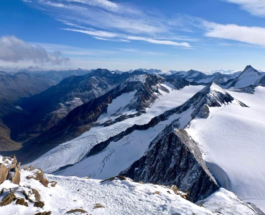 Beautiful view over the European Alps from Similaun summit