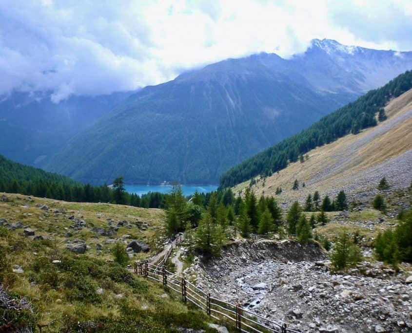 Hiking towards Vernagt water reservoir