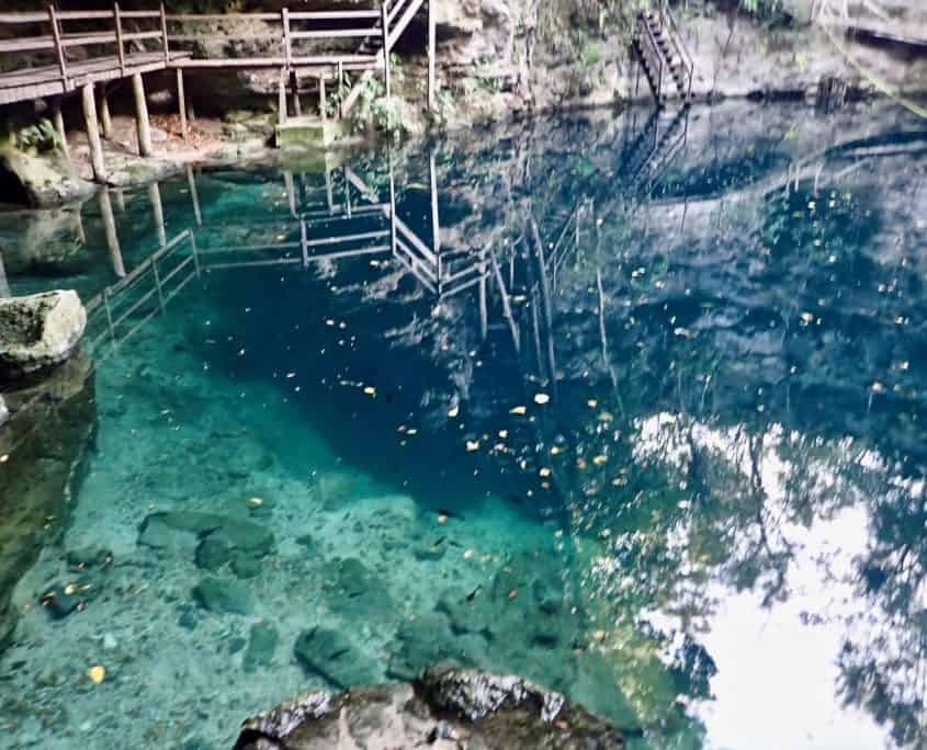 Clear blus water at cenote X'Canche