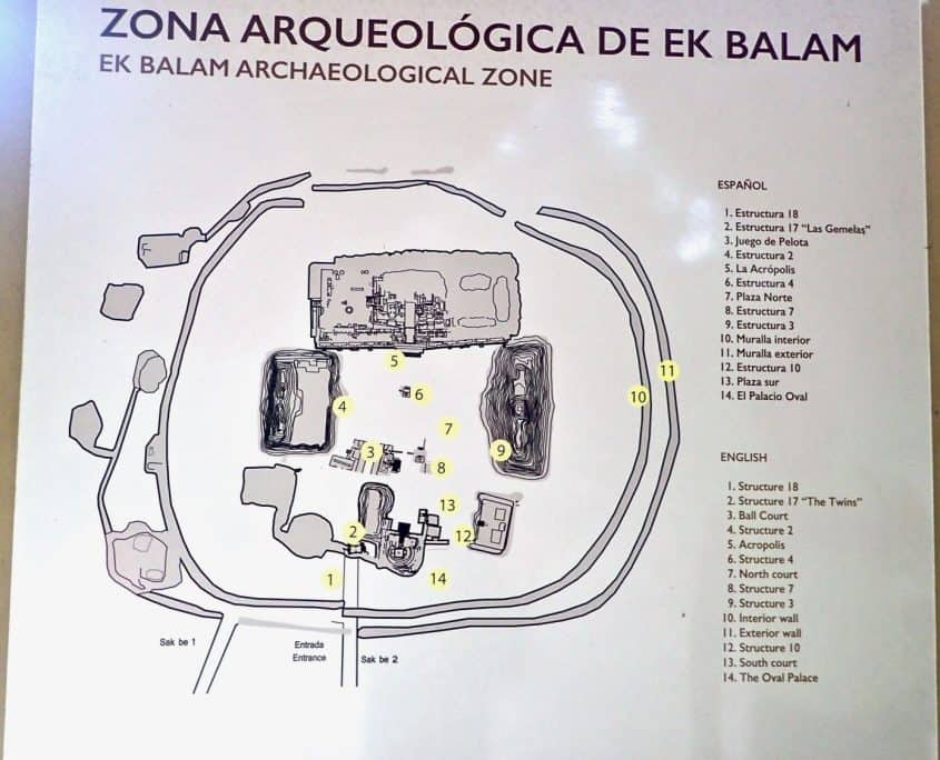 Overview map of the Mayan ruins of Ek Balam