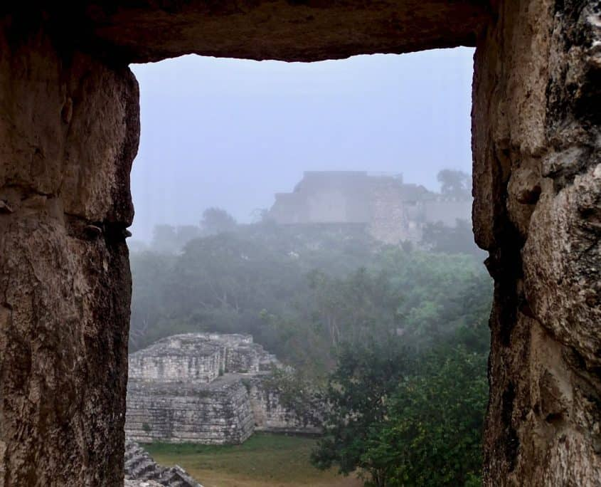 View towards the Mayan ruins of Ek Balam