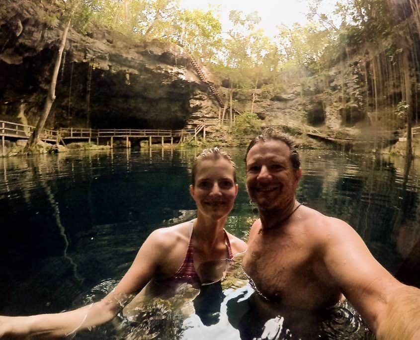 Brad and I swimming in cenote X'Canche
