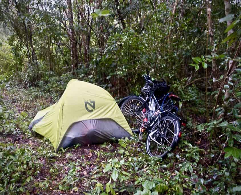Just a normal day of bicycle touring - campsite in the jungle