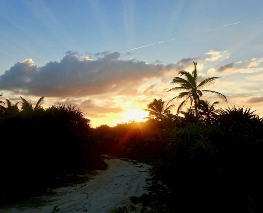 Cycling through Sian Ka'an Biosphere Reserve - tropical sunset