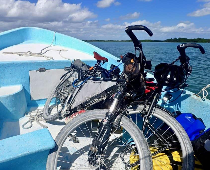 Cycling through Sian Ka'an Biosphere Reserve - our bicycles on a tour boat that brought us to the mainland