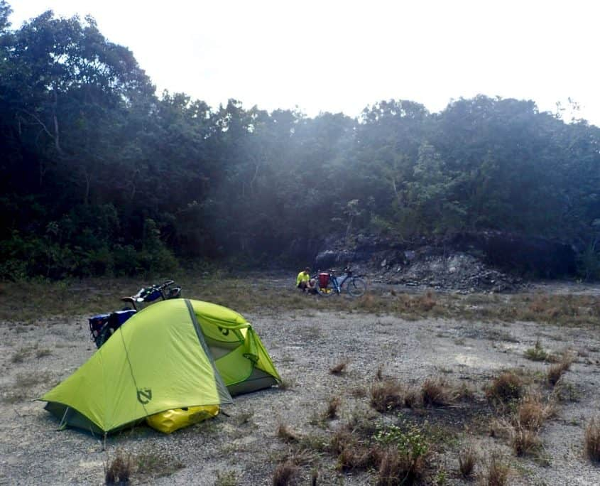 Cycling through Sian Ka'an Biosphere Reserve - jungle campsite