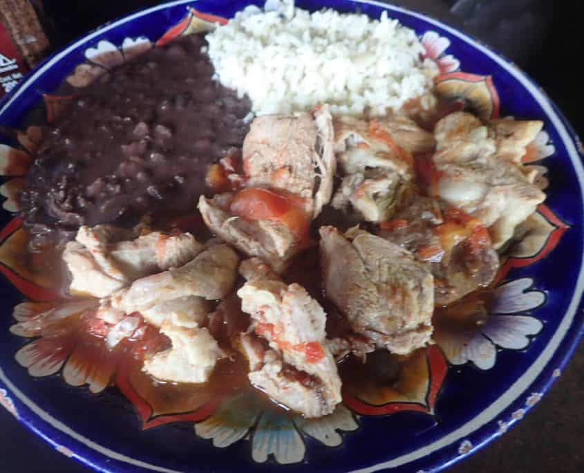 Typical Mexican Food - Rice, Beans and some meat