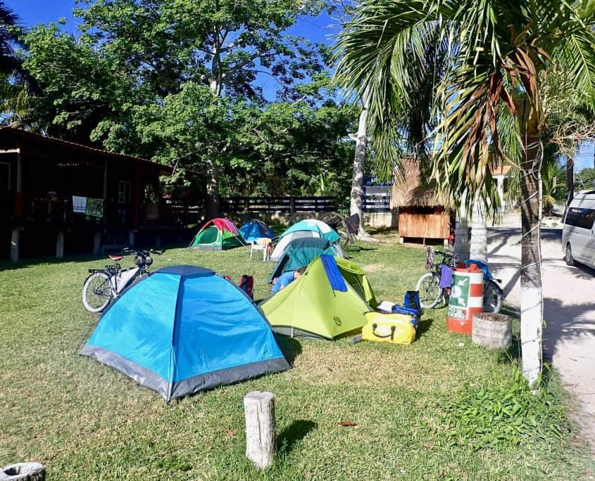 Bicycle Touring Yucatán Mexico - camping in Bacalar