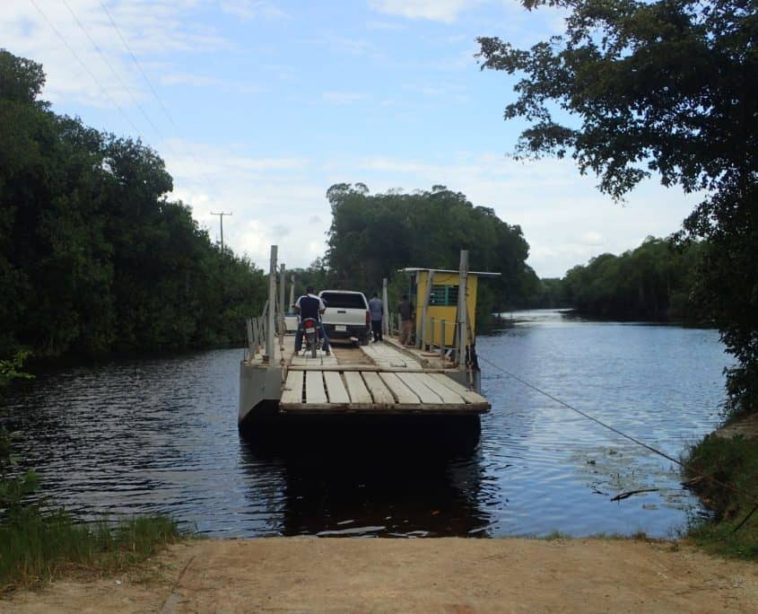Bicycle touring through Belize - A hand-cranked ferry on the way