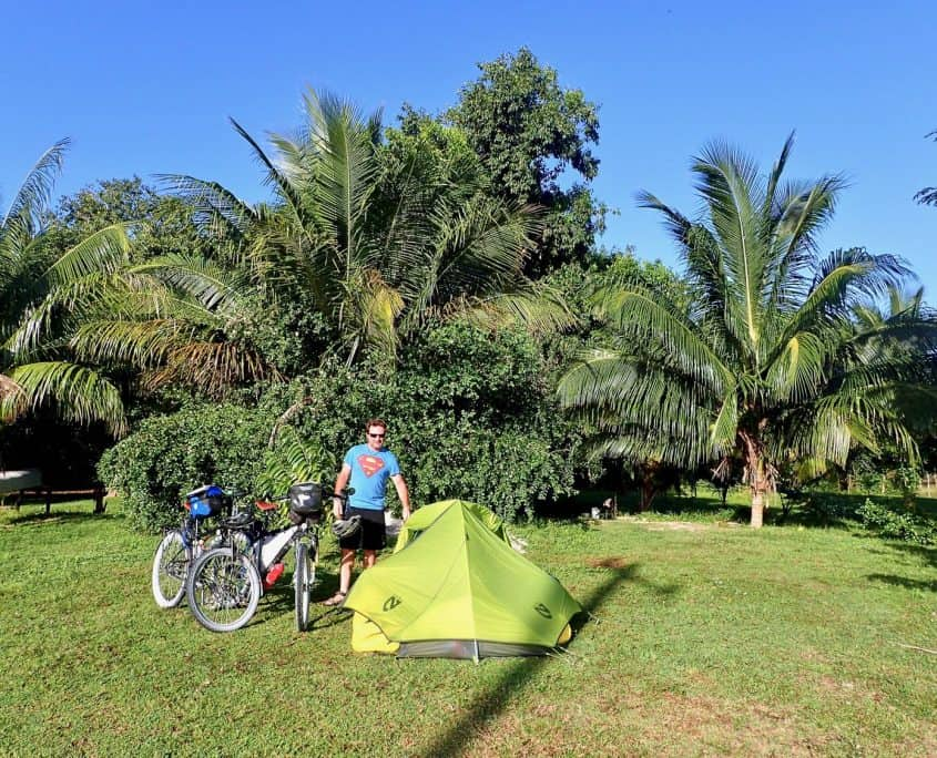 Bicycle Touring through Belize - Our campsite at Jacana Inn