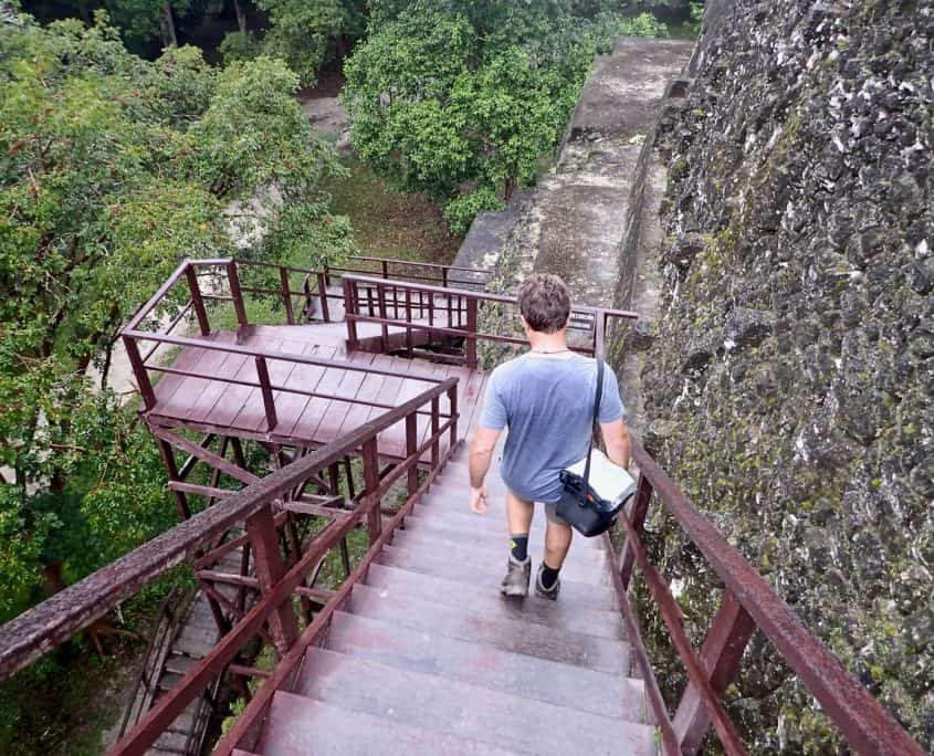 Tikal - The stairs down from one of Tikals main pyramids