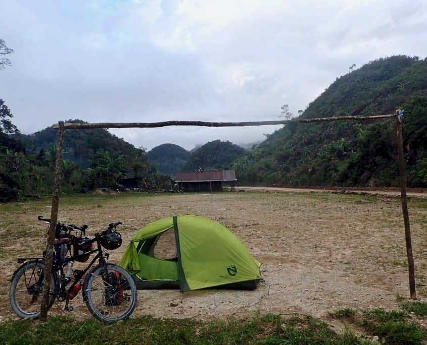 Camping on a local football field while bicycle touring Guatemala