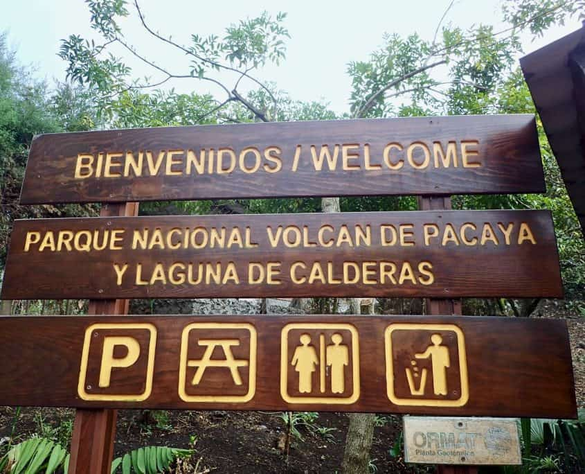 Welcome sign at parque nacional volcan de Pacaya