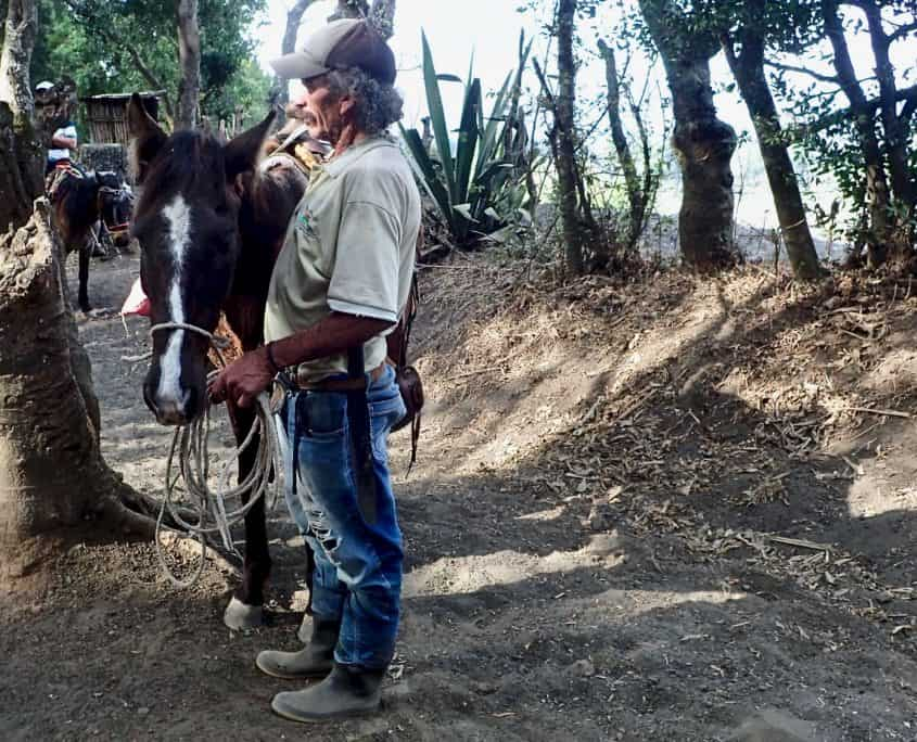 Local man with a horse at volcano Pacaya who is waiting for tired tourists