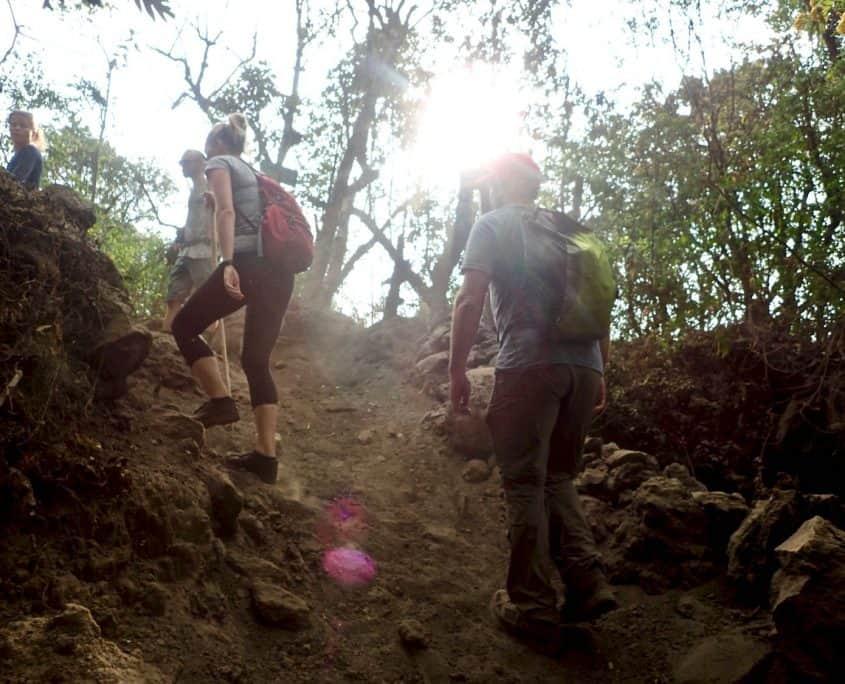 The steep climb towards the summit of volcano Pacaya