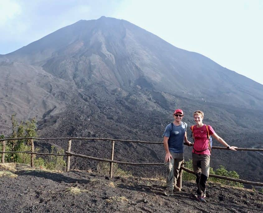 Brad and I standing in front of volcano Pacaya