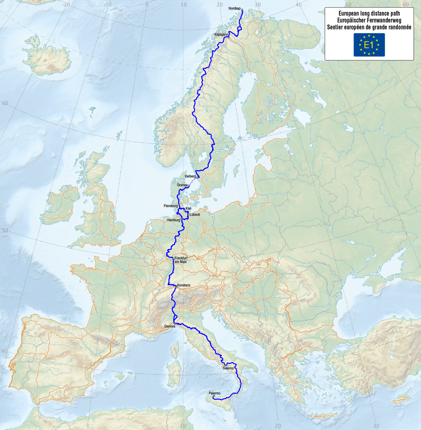 Map of the European long-distance trail E1