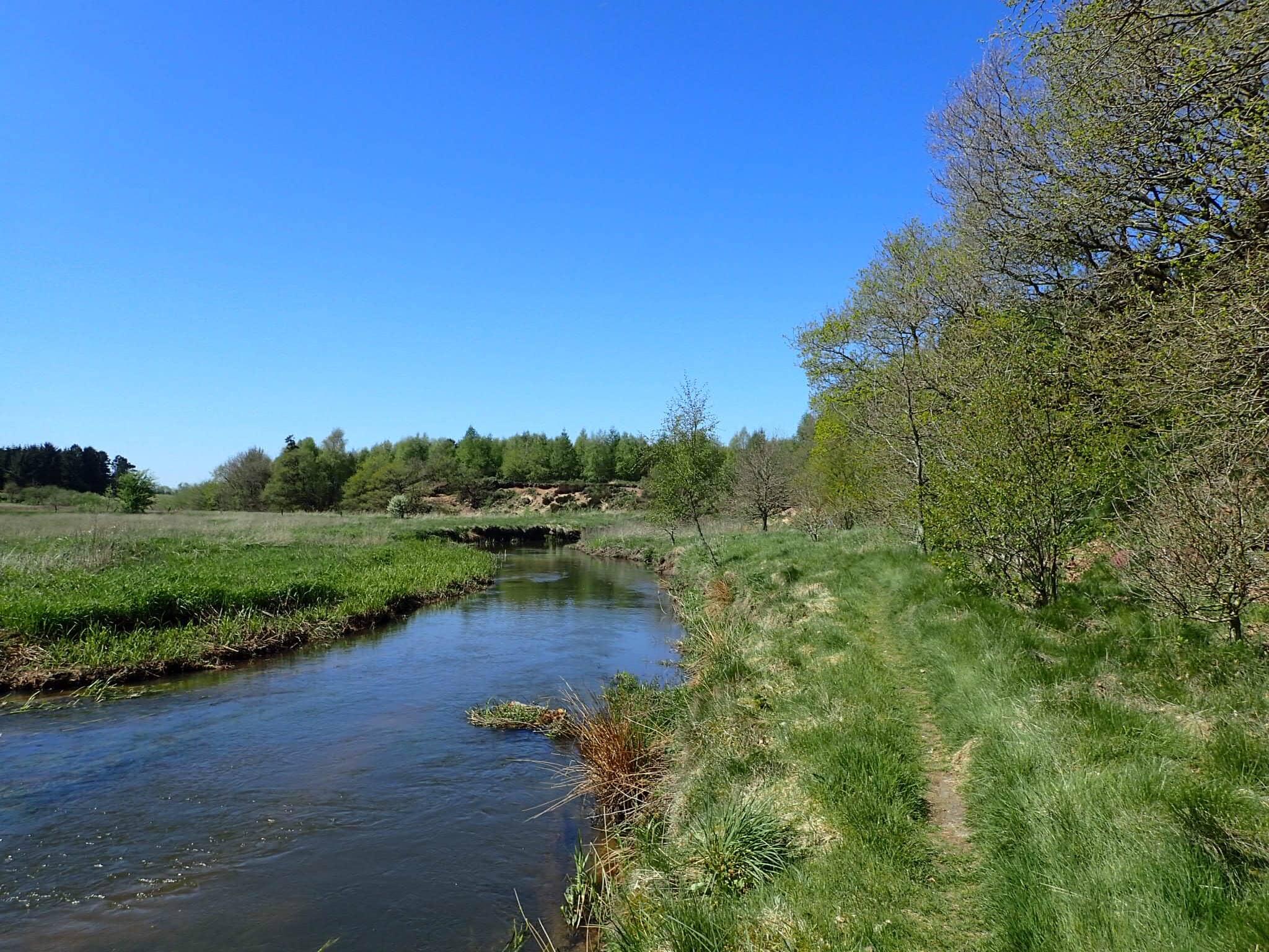 The E1 follows a river