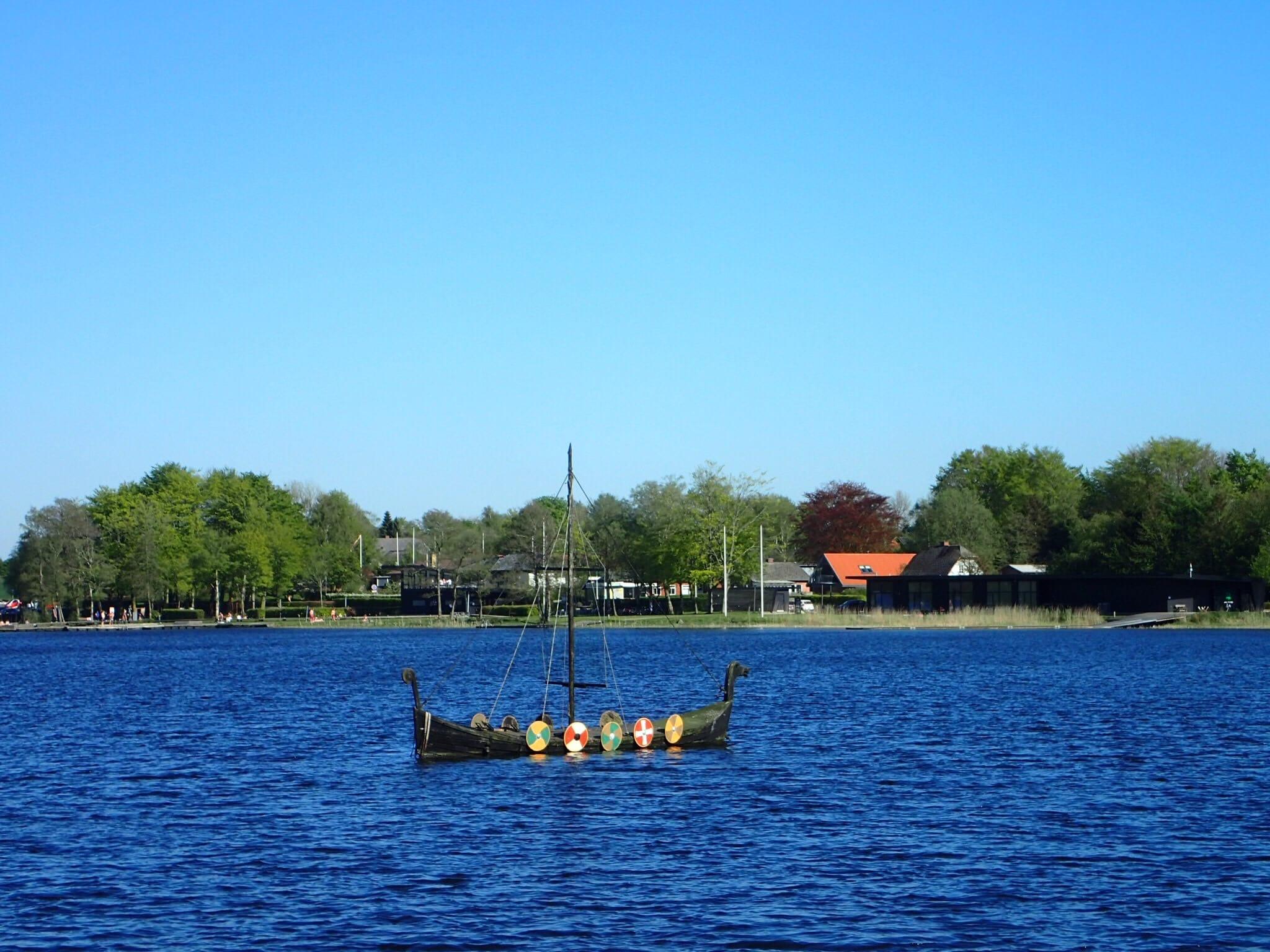 A Viking boat on a lake near Jels