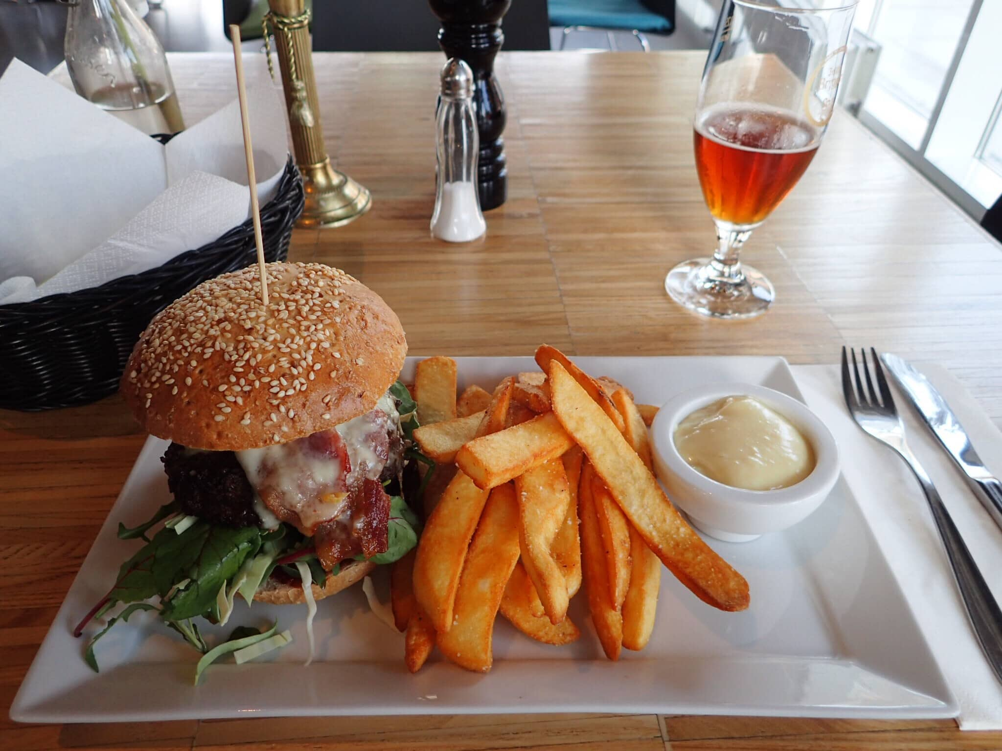 Burger and fries at the Boyens Cafe in Jelling