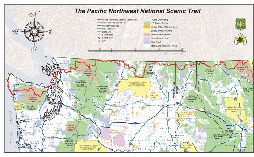 Pacific Northwest Trail overview map